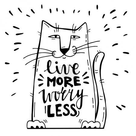 Vector positive card with cartoon cat.