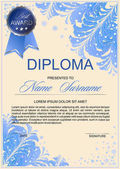 diploma in frosty style with beautiful patterns of frost and silver accents (certificate letter of appreciation letter of commendation)