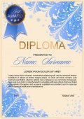 diploma in frosty style with beautiful patterns of frost and gold accents (certificate letter of appreciation letter of commendation)