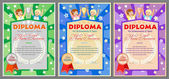 children's sports diploma or certificate for 1st 2nd and 3rd places with a girl and a boy cups and medals (gold silver and bronze)