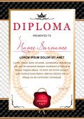diploma in the official solemn chic Royal style in black and gold tones with the image of the crown and red wax seal on the background of chess black and white texture