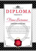 diploma in the official solemn elegant Royal style in black and silver tones with the image of the crown and red wax seal on the background of chess black and white texture