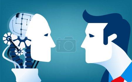 Menschen gegen Roboter. Konzept Geschäftsveranschaulichung