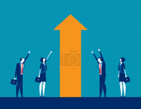 Illustration for Business investment and Growth. Concept business vector illustration, Moving Up, Happiness, Successful. - Royalty Free Image