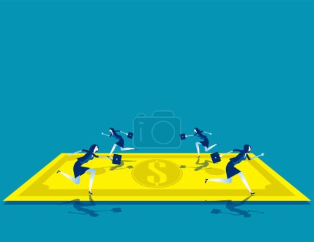 Illustration for Business team running on banknote. Concept business vector illustration, Make Money, Currency, Gold Paper. - Royalty Free Image