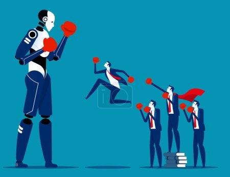 Illustration pour Équipe humaine de lutte contre l'intelligence artificielle. Concept business humain vs robot vecteur illustration - image libre de droit