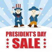 Flat design Cute Cartoon Abraham Lincoln and George Washington President's Day Sale