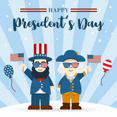 Flat design Cute Cartoon Abraham Lincoln and George Washington President's Day