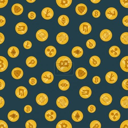 Illustration for Seamless pattern different cryptocurrency flat icon on a dark background - Royalty Free Image