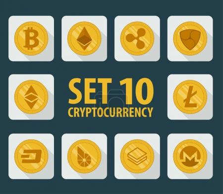 Illustration for Set of 10 flat currency cryptocurrency icon on a light background - Royalty Free Image