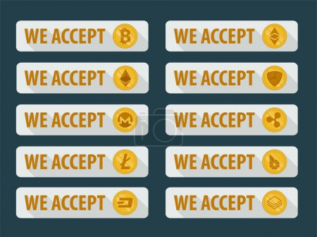 Bitcoins are accepted here. Icons in a flat style