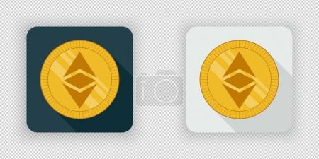 Illustration for Light and dark crypto currency icon Ethereum Classic on a transparent background - Royalty Free Image