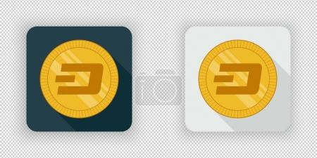 Illustration for Light and dark crypto currency icon Dash on a transparent background - Royalty Free Image