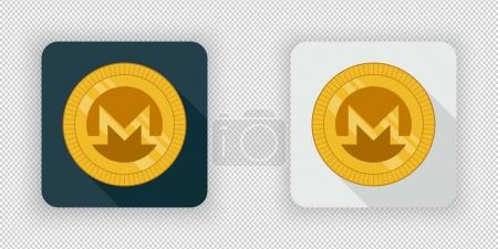 Illustration for Light and dark crypto currency icon Monero on a transparent background - Royalty Free Image