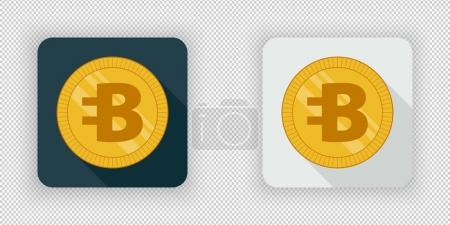Illustration for Light and dark crypto currency icon Bytecoin on a transparent background - Royalty Free Image