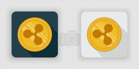 Illustration for Light and dark crypto currency icon Ripple on a transparent background - Royalty Free Image