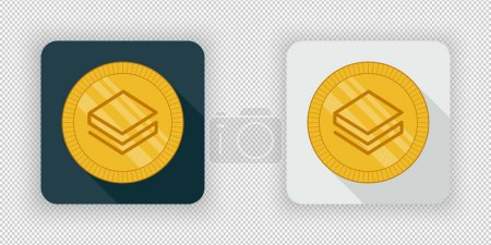 Illustration for Light and dark crypto currency icon Stratis on a transparent background - Royalty Free Image