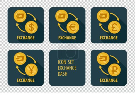 Illustration for Exchange cryptocurrency Dash vector icons on a dark background with arrows and long shadows - Royalty Free Image