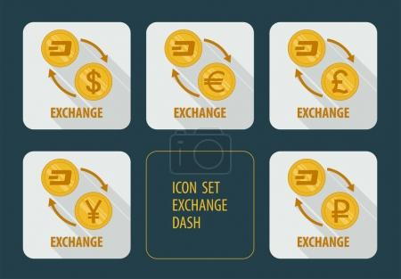 Illustration for Vector icons exchange cryptocurrency Dash for different currencies with arrows on a white background with long shadows - Royalty Free Image