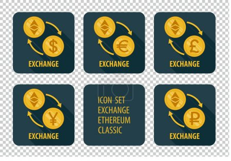 Illustration for Exchange cryptocurrency Ethereum Classic vector icons on a dark background with arrows and long shadows - Royalty Free Image