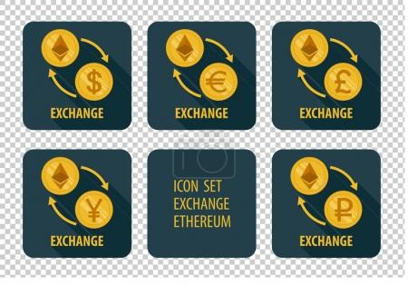 Illustration for Exchange cryptocurrency Ethereum vector icons on a dark background with arrows and long shadows - Royalty Free Image