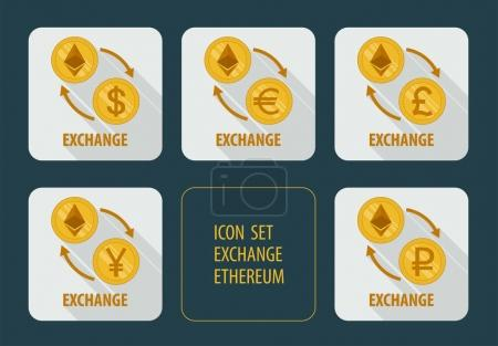 Illustration for Vector icons exchange cryptocurrency Ethereum for different currencies with arrows on white background with long shadows - Royalty Free Image