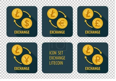 Illustration for Exchange cryptocurrency Litecoin vector icons on a dark background with arrows and long shadows - Royalty Free Image