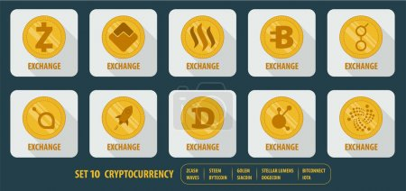 Illustration for Set of different vector icons exchange cryptocurrency on white background with long shadows - Royalty Free Image