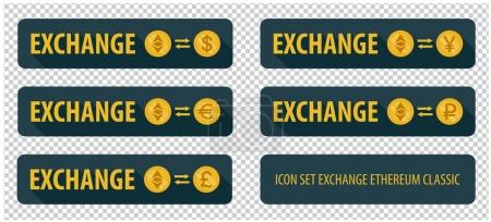Illustration for Rectangular horizontal button vector exchange crypto currency Ethereum Classic with other currencies. banner with arrows on a dark background and long shadows - Royalty Free Image