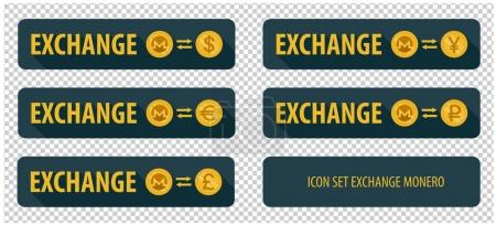 Illustration for Rectangular horizontal button vector exchange crypto currency Monero with other currencies. banner with arrows on a dark background and long shadows - Royalty Free Image