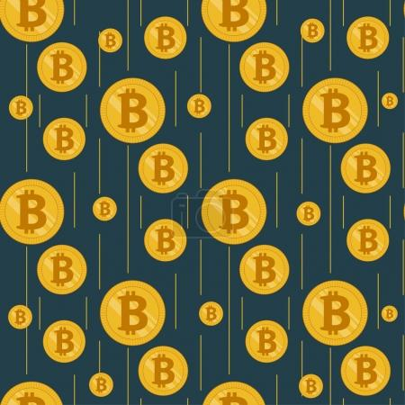 Illustration for Golden rain of bitcoins. Seamless pattern on a dark background with coins and thin vertical lines - Royalty Free Image