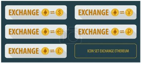 Illustration for Rectangular horizontal button vector exchange crypto currency Ethereum with other currencies. banner with arrows on a white background and long shadows - Royalty Free Image