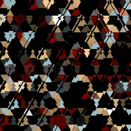 Photo for Triangle dark camouflage pattern, colorful triangles on dark background - Royalty Free Image