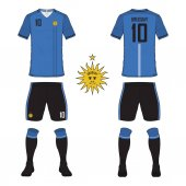 Set of soccer jersey or football kit template for Uruguay national football team Front and back view soccer uniform Sport shirt mock up