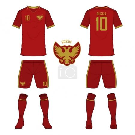 Set of soccer jersey or football kit template for Russia national football team. Front and back view soccer uniform. Sport shirt mock up. Vector.