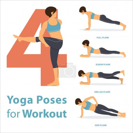 A set of yoga postures female figures for Infographic 4 Yoga poses for workout in flat design. Vector.