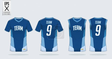 T-shirt sport design template for soccer jersey, football kit and tank top for basketball jersey. T-shirt uniform in front view and back view. Sportswear t shirt mock up for sport club. Vector .