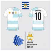 Soccer jersey or football kit template for Uruguay National Football Team Front and back view soccer uniform Flat football logo on Uruguay flag label and map in hexagon pattern Vector
