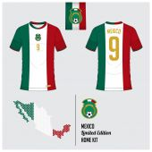 Soccer jersey or football kit template for Mexico National Football Team Front and back view soccer uniform Flat football logo on Mexico flag label and map in hexagon pattern Vector Illustration
