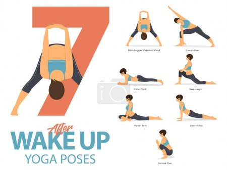 A set of yoga postures female figures for Infograp...
