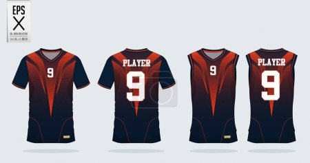 Orange- black t-shirt sport design template for soccer jersey, football kit and tank top for basketball jersey. Sport uniform in front and back view. Tshirt mock up for sport club. Vector