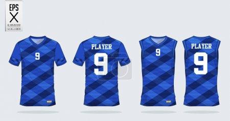 Blue Scotch pattern t-shirt sport design template ...