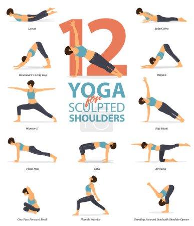Illustration pour Infographie de 12 poses de yoga pour épaules sculptées en design plat. Beauté femme fait de l'exercice pour l'étirement du corps. Jeu de séquence de yoga Infographie. Dessin animé Art vectoriel et illustration . - image libre de droit