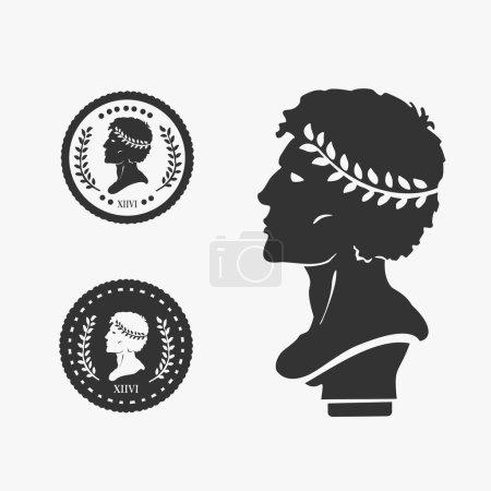 Greek Profile Coin Vector Illustration
