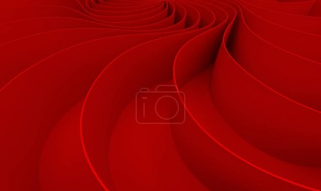 Photo for 3d rendering Curved abstract on red background in valentine's day, illustration - Royalty Free Image
