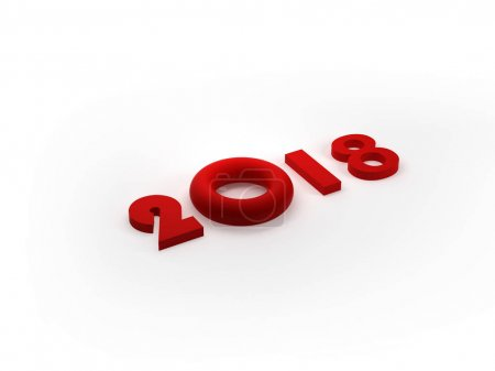2018 Text isolated, Happy New Year, 3D Render illustration