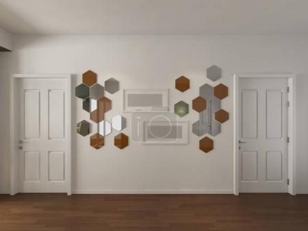 Photo for Modern Empty Room, 3d render interior design, mock up illustration - Royalty Free Image