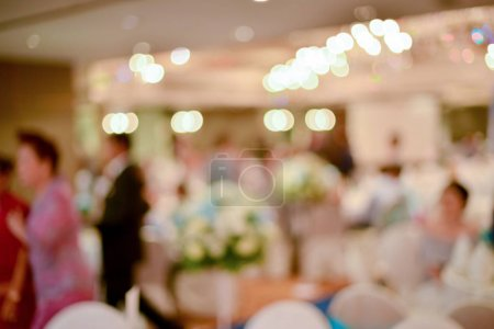 Photo for Abstract blurred of wedding ceremony in convention hall - Royalty Free Image