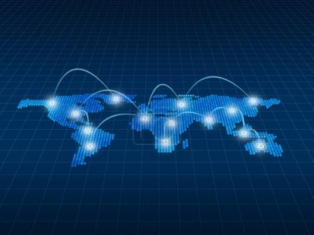 Photo for Internet Concept of global business, connection symbols communication lines, 3d illustration - Royalty Free Image