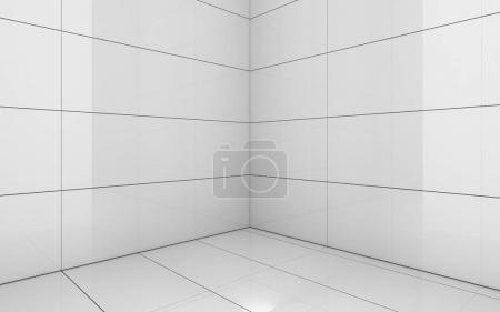 Photo pour Carrelage blanc salle, fond de texture, illustration de rendu 3d - image libre de droit